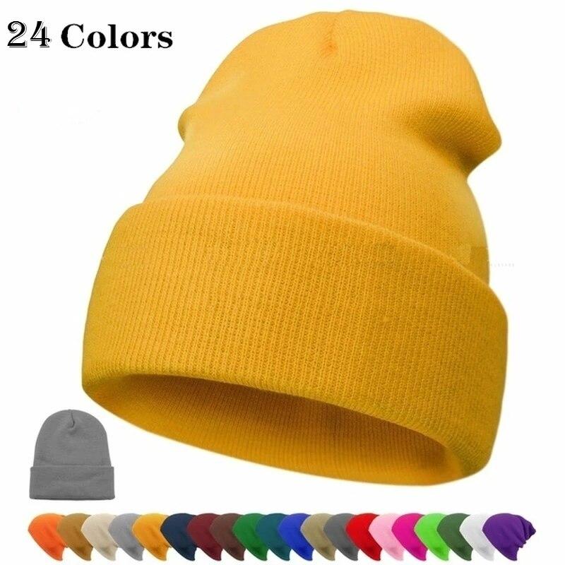 2021 New Fashion Soft Borderless Warm Hat Women Hip-hop Knitted  Ski Hood Unisex Winter Plain  Fluorescent Color Thread Beanie