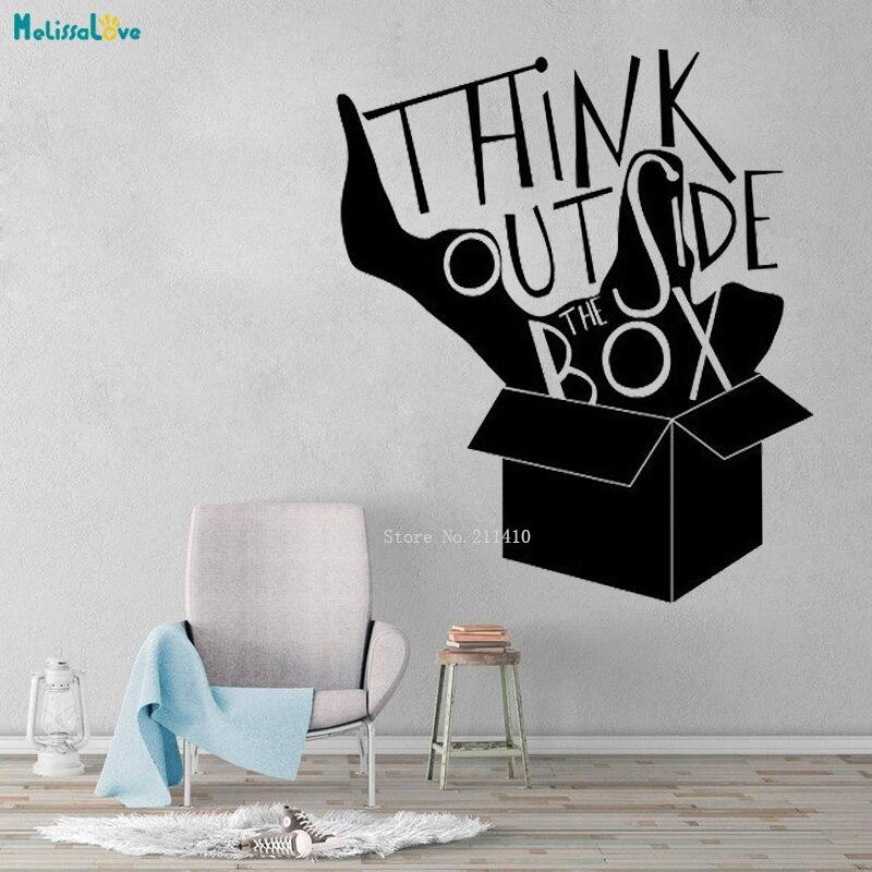 Denken Außerhalb Der Box Schatten Wand Aufkleber Wort Zitat Inspirational Decals Vinyl Aufkleber Kunst Home Office Decor Neue Design YT2074