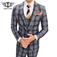 plyesxale khaki gray plaid suit men high quality wedding suits for men costume mariage homme 3 pieces formal work suit man q888