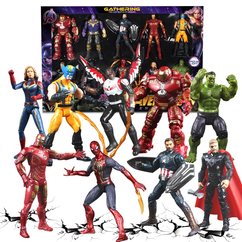 Marvel Avengers Iron Man Action Figure Toys Black Panther Thanos Captain America Thor Spiderman Endgame Model Toys for Children