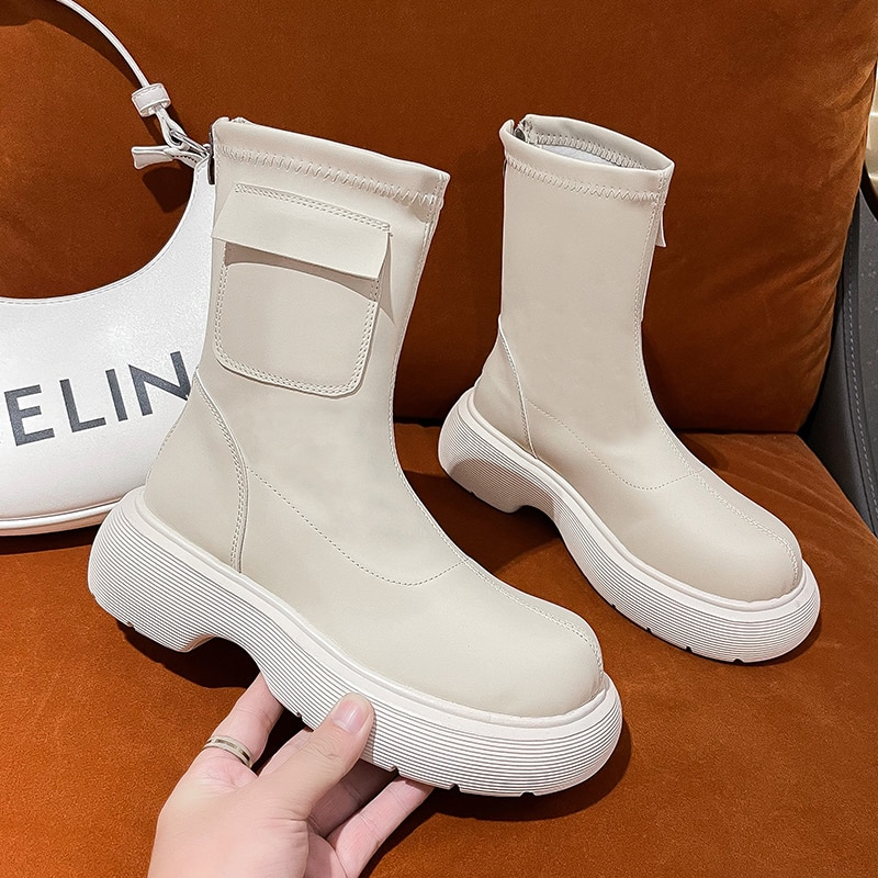 2021 New Ankle Boots for Women Thick Bottom Round Toe Genuine Leather Boots Black White All-match Bo