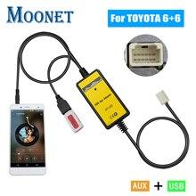 Автомобильный MP3 USB AUX адаптер Moonet QX005, интерфейс 3,5 мм AUX, устройство смены компакт-дисков для Toyota (6 + 6pin) Avensis RAV4 Auris Corolla Yaris