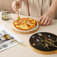 nordic restaurant 8 inch 10 inch steak plate creative western pizza plate bird and tree ceramic plate
