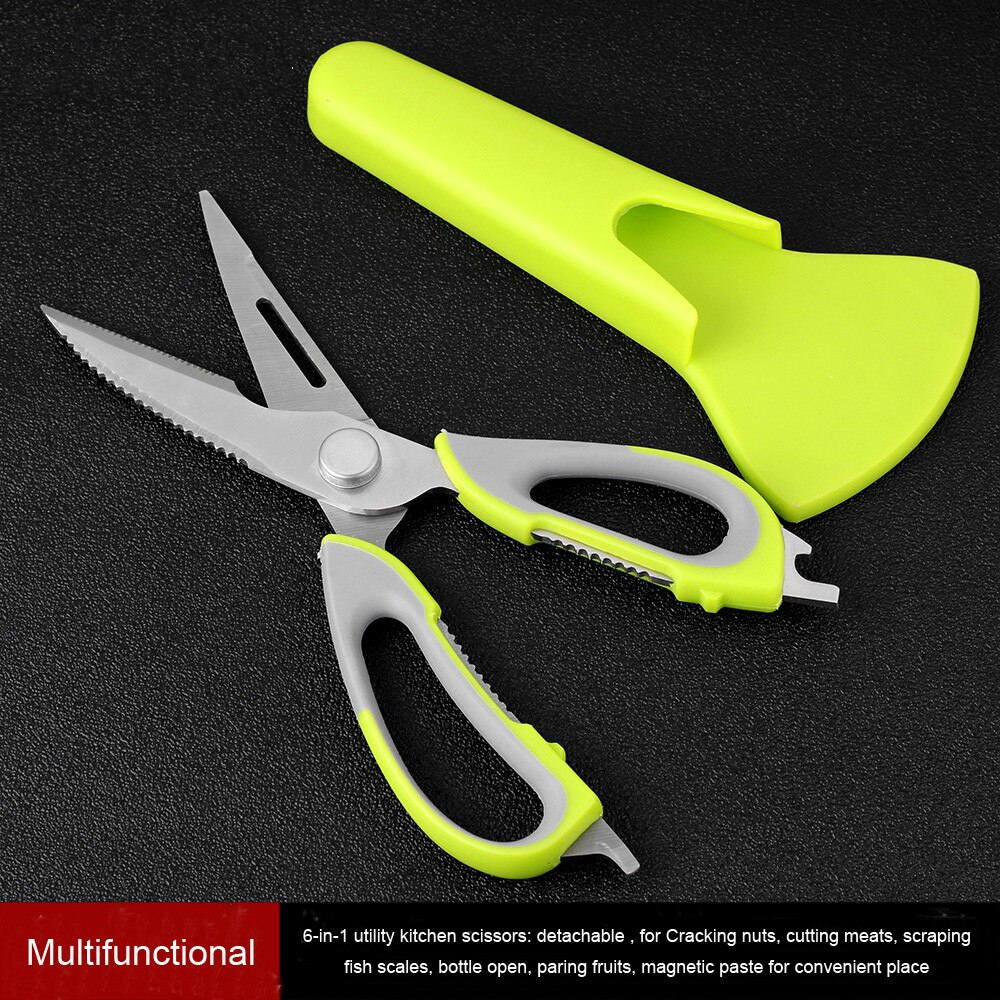 7 In 1 Kitchen Scissors Magnetic Knife Seat Removable Stainless Steel For Fish Chicken Shears Cooking New