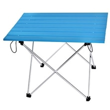 Mesa portátil plegable Camping senderismo Mesa viaje pícnic al aire libre aluminio Super ligero azul S