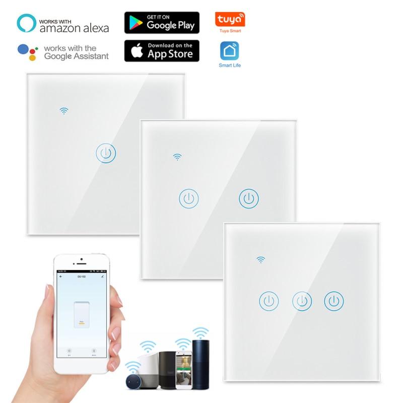 1 шт., WiFi, умный светильник, сенсорный беспроводной пульт дистанционного управления, ForAlexa Google, домашний помощник, ЕС/Великобритания, штекер ...