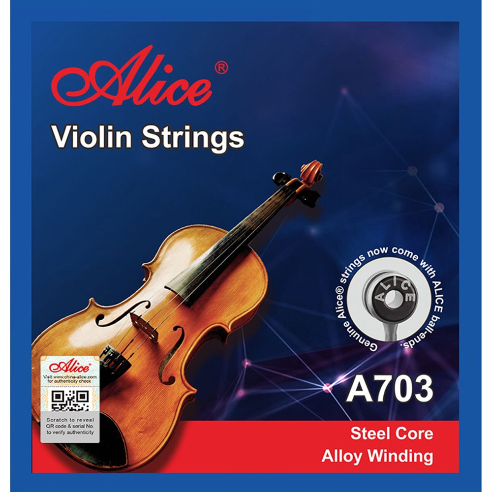 1 set Violin Stings Steel Core Alloy Winding E A D G for 4/4 3/4 1/2 1/4 1/8 Common Size Alice A703