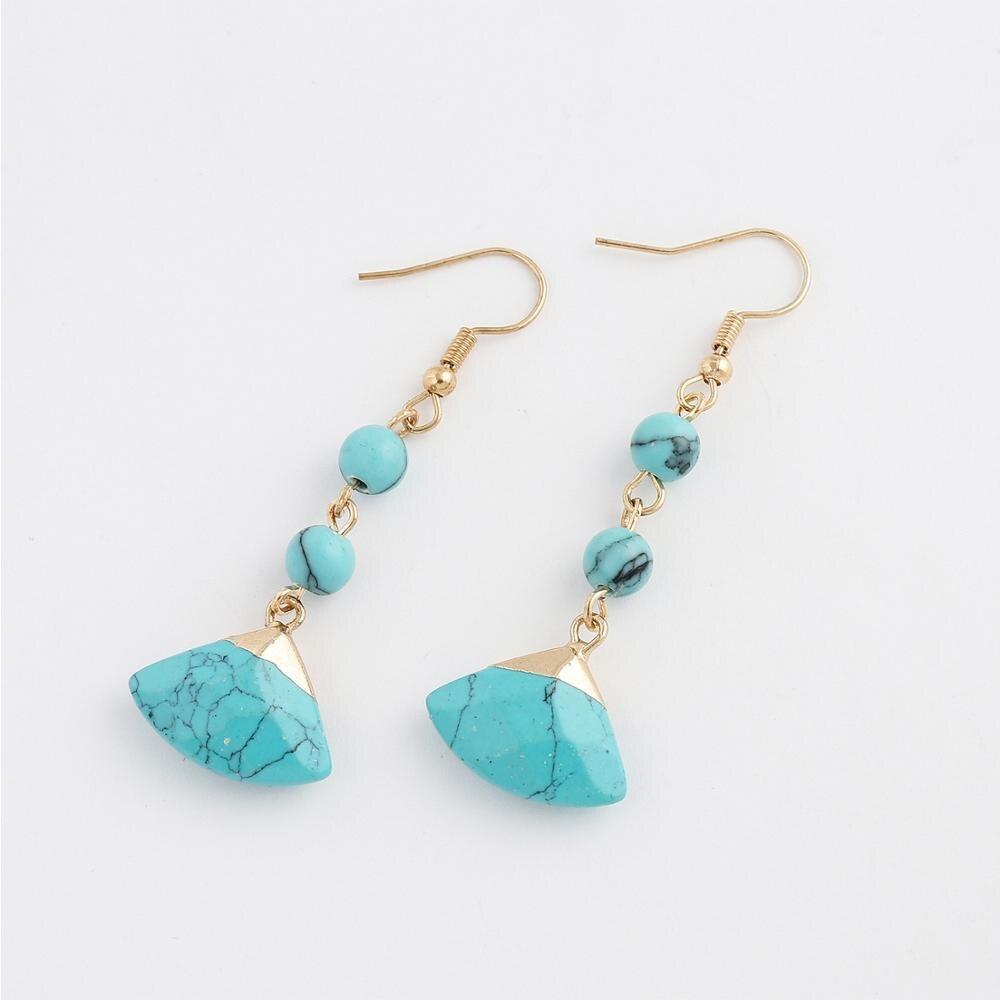 Turquesas azules étnicas pendientes de oro de piedra Bohemia Vintage Pendientes de piedra colgantes larga para las mujeres Boho joyería