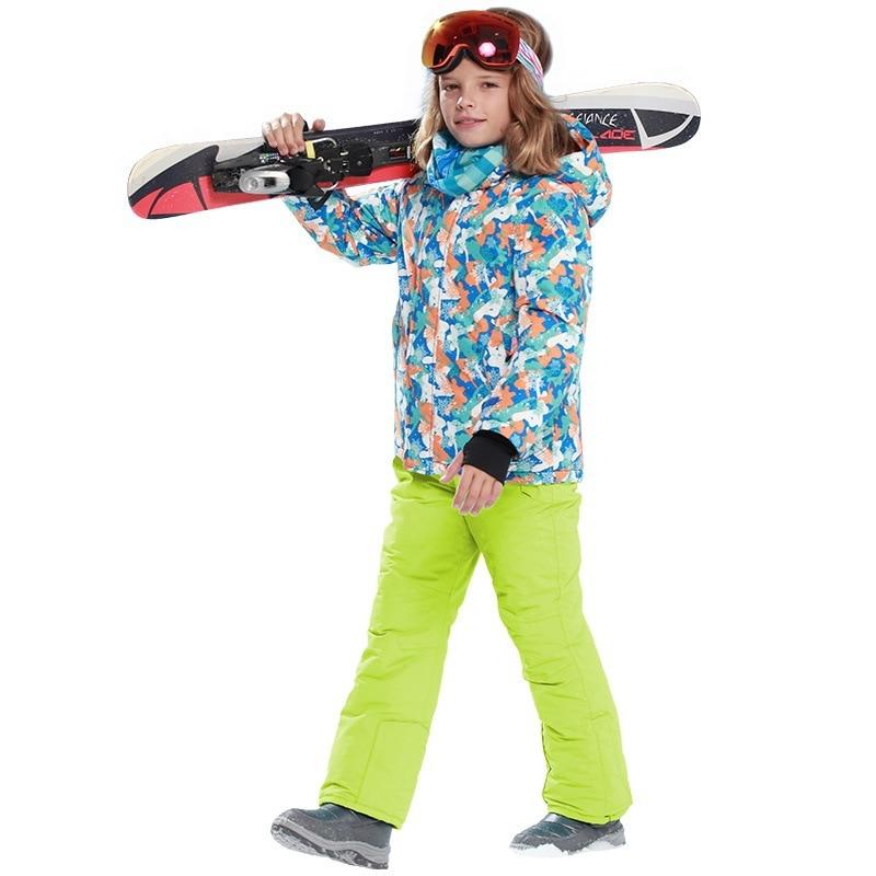 Children Winter Waterproof  Skiing Snowboard Suit Kids Warm Teens Skiing Jackets Pants Hooded Fleece Inside Boys Girls Clothing