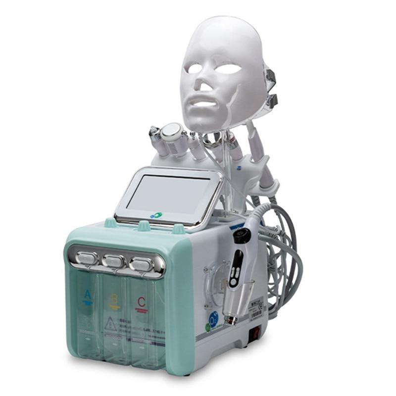 برو 8 في 1 هيدرا درمابراسيون أكوا قشر نظيفة العناية بالبشرة بيو ضوء RF فراغ الوجه تنظيف المائية فوهة/ قناع الأكسجين قشر آلة