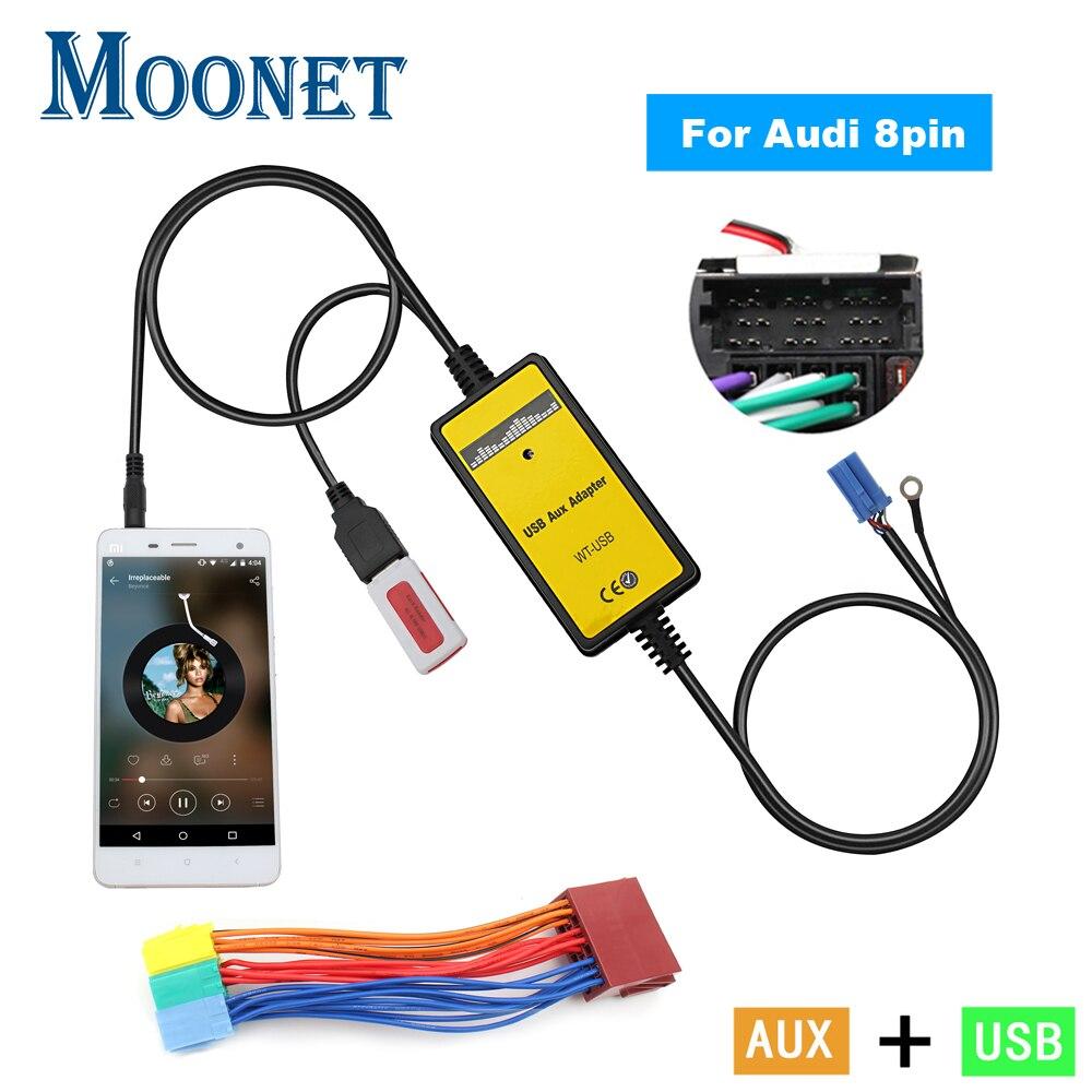 Автомобильный аудио USB AUX адаптер Moonet, 3,5 мм интерфейс AUX, устройство смены компакт-дисков для Audi 8Pin A2 A4 S4 A8 A8 AllRoad TT Skoda Seat KB004