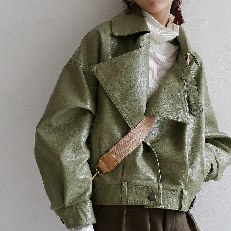 Весенние свободные штаны из искусственной кожи искусственная (-ый) с рукавами «летучая мышь» в винтажном стиле; Кожаные куртки повседневные...