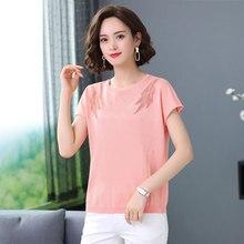2020 WOMEN  new fashion age-reduced print shirt large size round neck T-shirt