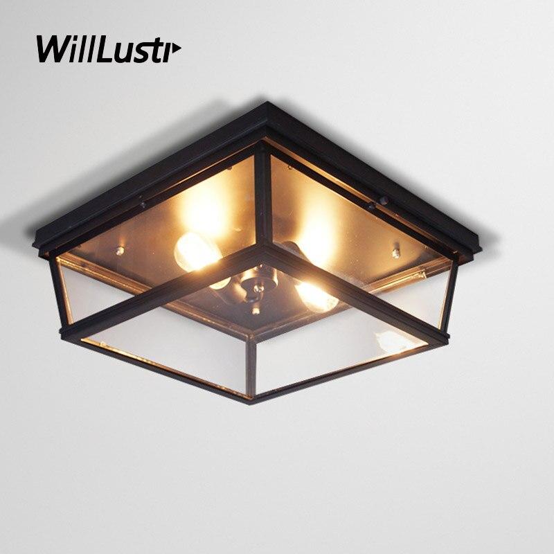Lámpara de techo cuadrada Retro de hierro, lámpara de caja de cristal para Hotel, Bar, pasillo, porche, balcón de la cocina, guardarropa de estudio, iluminación americana
