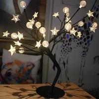 BRICOLAGE Etoiles Bulles Fleur Chaude Arbre 24 LEDs lampe de Table Veilleuse Creative Pour La Maison Chambre Bureau Vacances Decoration De Noel