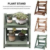 2 tier flower pot stands rack strong standing bonsai holder home garden indoor display plant stand shelf wood planter pot trays