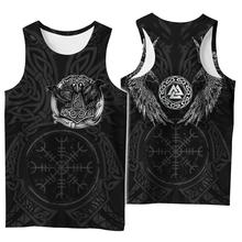 Viking symbol tatuaż Raven 3D drukowane koszula męska kamizelka Harajuku moda bez rękawów koszulka lato streetwear Unisex podkoszulki