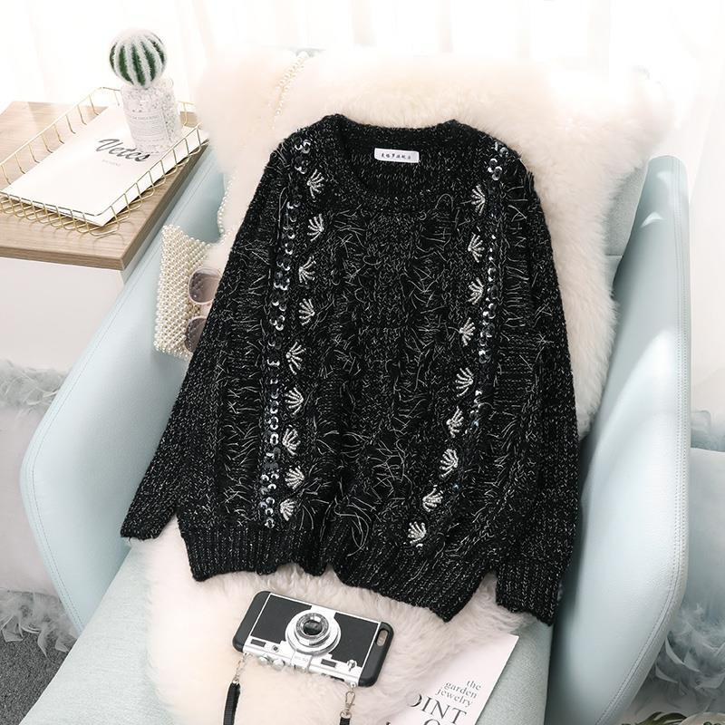 Sweater Women OIMG New Fall/winter Round Neck Pullover Loose Korean Version of Tassel Beaded Heavy Industry Retro Thick Top enlarge