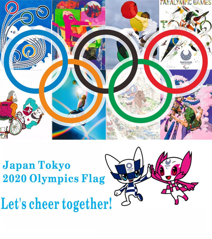 Bandera de los anillos olímpicos de 2020, bandera nacional de los Juegos Olímpicos de Japón, bandera de los juegos deportivos, Banner publicitario, decoración, celebración