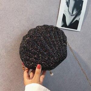 Women Shoulder Handbags Shell Bag Chain Cute Sequins Small Bag Phone Money Pouch Zipper Crossbody Bags for Women Bolsa Feminina