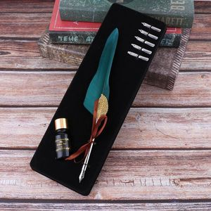 English Calligraphy Feather Dip Pen Writing Ink Set Stationery Gift Box With 5 Nib Wedding Gift Fountain Pen Q1JC