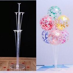 7 tubos balões suporte balão coluna confetes balão chuveiro do bebê crianças aniversário festa de casamento decoração suprimentos
