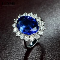 vintage 925 sliver sapphire gemstone rings for women open adjustable princess diana promise wedding flower ring jewelry gifts