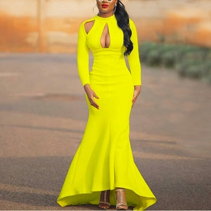Women Dress Long Sleeves Hollow Out Sexy Party Celebrate Occasion Event Prom Evening Night Clubwear Date Out Robes Gowns Summer