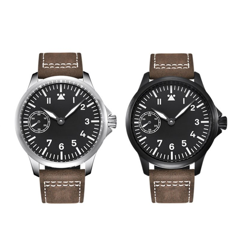 Debert45mm-ساعة يد ميكانيكية فاخرة للرجال ، ساعة يد رجالية من الياقوت والزجاج ، ST3600 ، حركة 6497 ، علبة من الفولاذ المقاوم للصدأ 316L ، مضيئة
