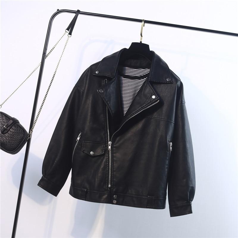 2019 autumn Women Leather Jacket BF large version loose pu washing leather Biker Jacket Fashion casual Suede Coat Female enlarge