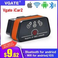 Считыватель кодов Vgate iCar2 ELM327 OBD2, диагностический инструмент для Android/IOS/ПК, сканер для авто iCar 2 Elm 327, Bluetooth/Wi-Fi
