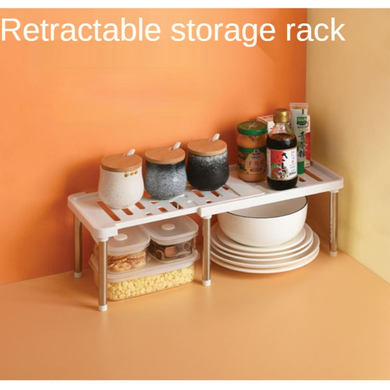 خزانة مطبخ رف منظم رفوف قابلة للتوسيع تكويم يصلح للمطبخ الحمام تحت بالوعة مخزن تخزين سطح المكتب