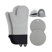 heat resistant oven kitchen glove set mini oven mitts and hot pad non slip oven mitts for baking