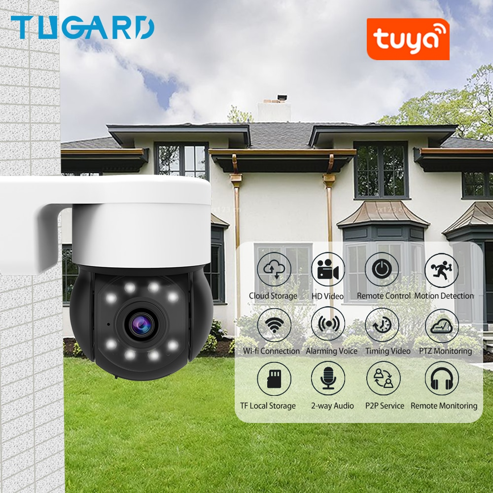 Tuya-كاميرا مراقبة خارجية IP Wifi HD 3MP/1080P ، جهاز أمان الشبكة ، مقاوم للماء ، مع صوت PTZ Onvif P2P ورؤية ليلية