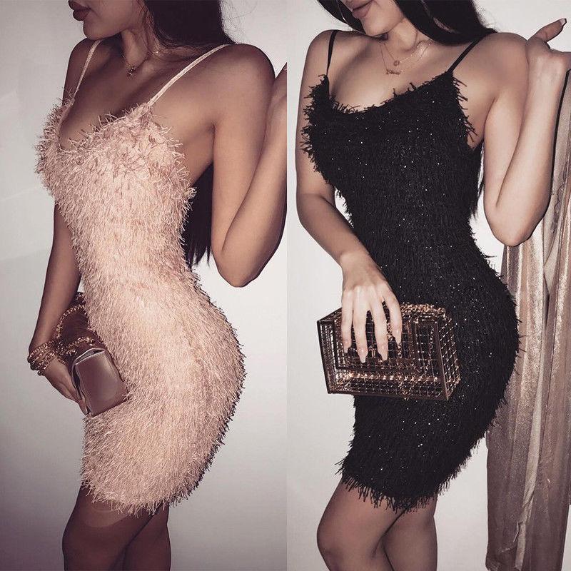 Sexy ceñido al cuerpo sin mangas Vestido Mujer brillante borla alta cintura noche Fiesta Club corto Mini vestidos