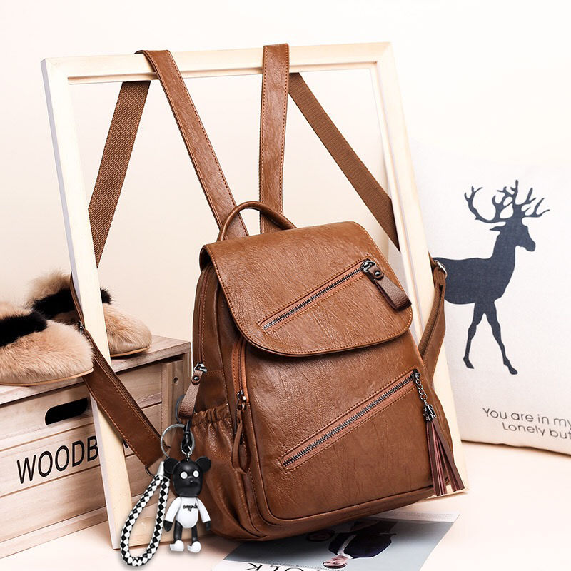 2021 Vintage Tassel Pu Leather Multi-zip Clamshell Women Backpacks High Quality Soft School Bags High Capacity Travel Bags Y22