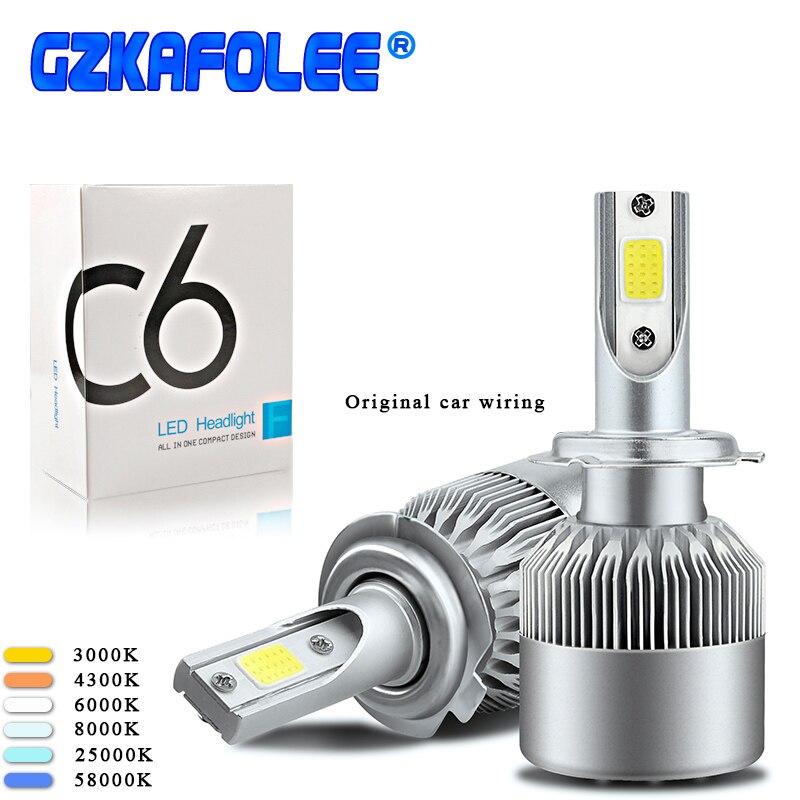 2pcs car led lamp H16 Lights Bulbs LED h10 h7 h27 9003 9004 9005 9006 9004 9007 5202 9012 Headlights 12V 6000K C6 H11 Auto Lamps