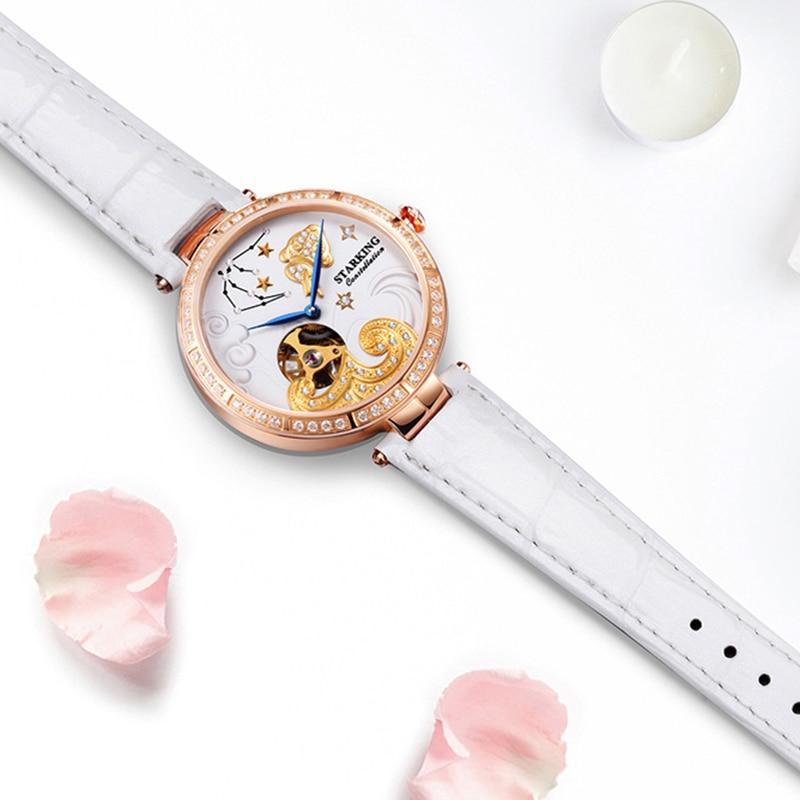 STARKING Women Watch Brand Luxury Leather Aquarius Constellation Ladies crown Watch Fashion Casual Simple Wristwatch Clock Women enlarge