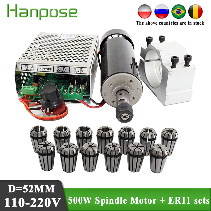 0.5kw clamps Air cooled Air cooled spindle ER11 chuck CNC 500W Spindle Motor + Power Supply speed go