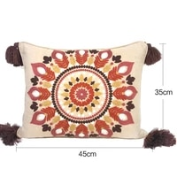 morocco bohemian southeast asian ethnic style handmade cotton and linen tassel mixed bed and breakfast pillow cushion