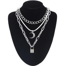 Colliers à pendentif lune, chaînes à la mode, chaîne de collier, chaîne de collier gothique pour femmes, hamac, bijoux féminins