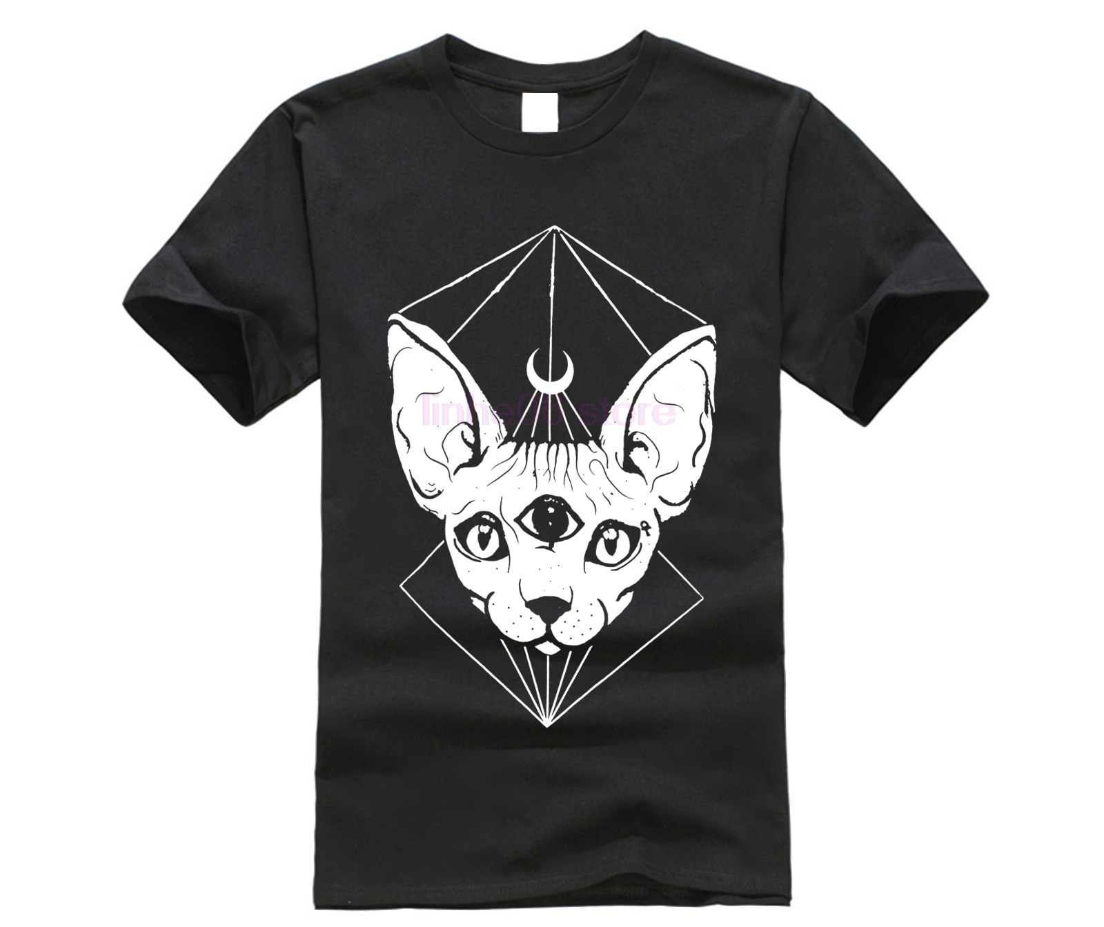 Punk gótico Sphynx cabeza de gato Luna dibujada camisetas negro bruja símbolo camisetas para Goth Cotton Tee Tops
