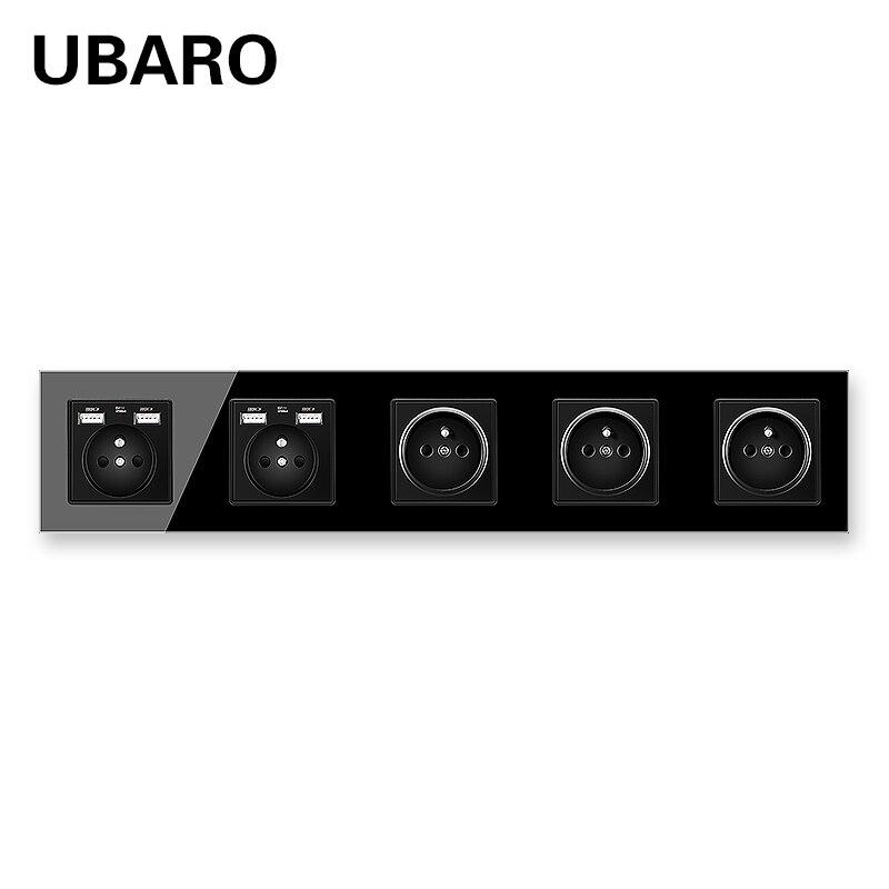 UBARO 430*86 الفرنسية القياسية المقسى والزجاج والكريستال المقبس مع USB 5V 2100mA جدار المقابس الطاقة منفذ AC110-250V 16A مآخذ