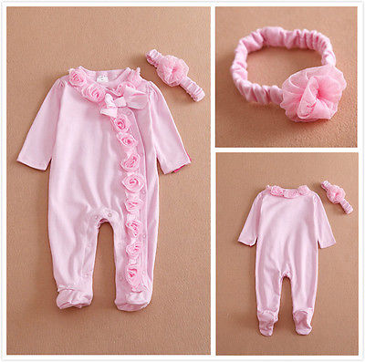 Newborn Baby Girls Long Sleeve Romper Three-dimensional Flower Bodysuit Jumpsuit Clothes Outfits Set
