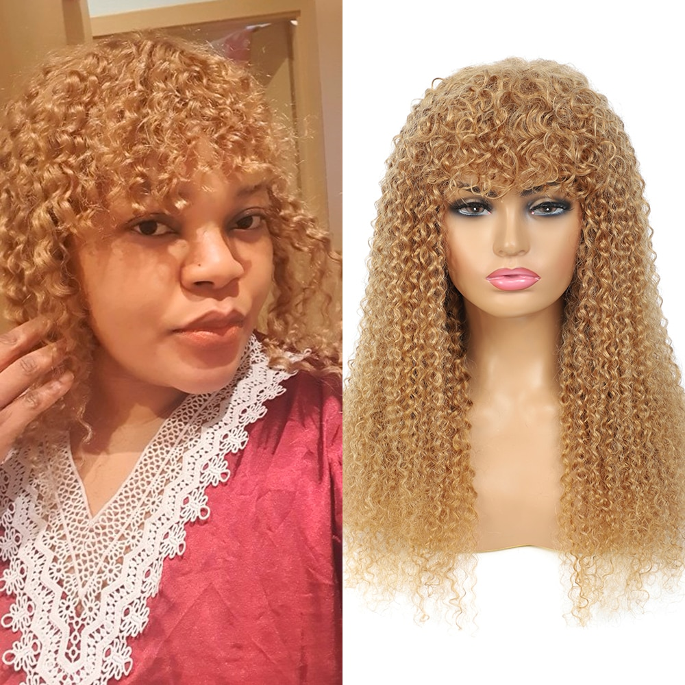 AliExpress - Blonde 27 Kinky Curly Hair Wigs With Bangs Brazilian 9A Remy Human Hair Full Machine Jerry Curl Ombre Wigs 6-24Inch 150%EUPHORIA