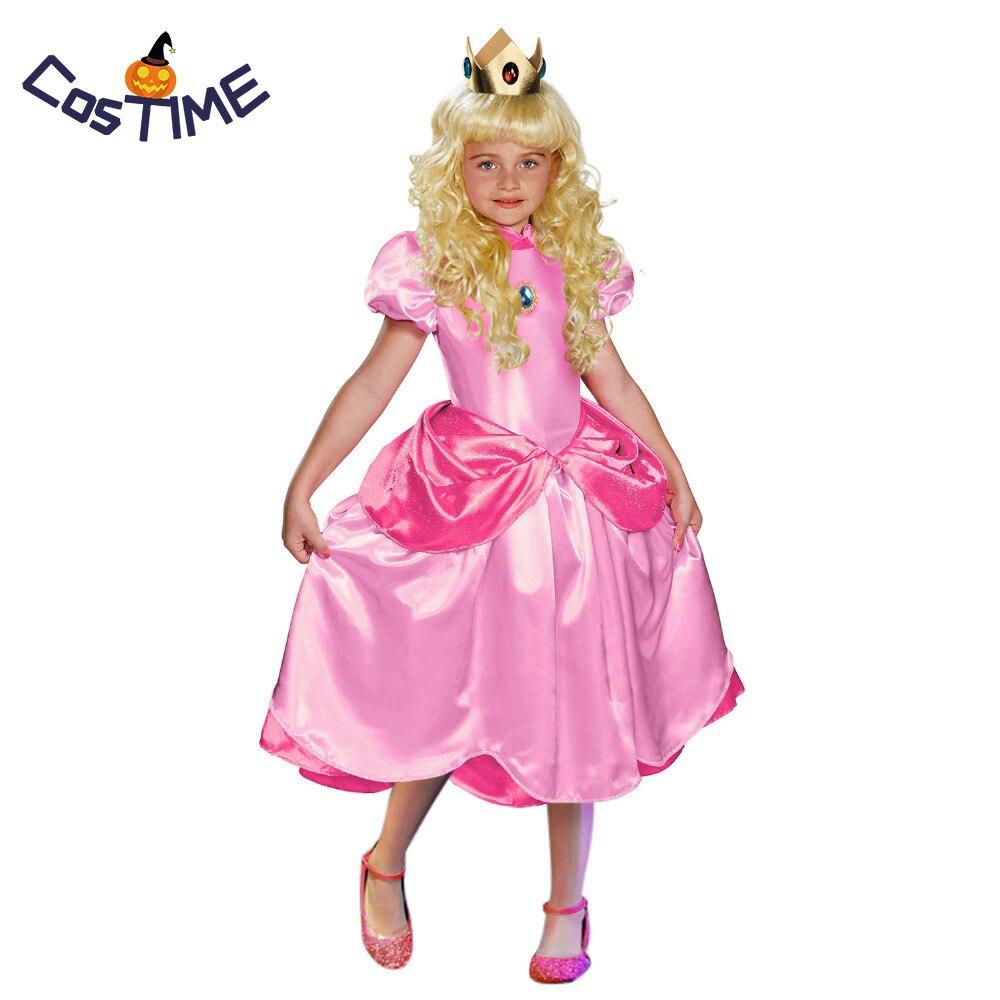 زي الأميرة الصغيرة الخوخية للأطفال ، لعبة الهالوين التنكرية الكلاسيكية ، سوبر ماريو ، الأخوين ، الأميرة