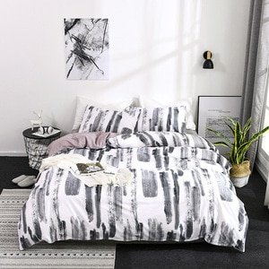 graffiti-art bedding set black white bed set bed linen duvet cover set queen king size bedding set luxury line leaves bedspread