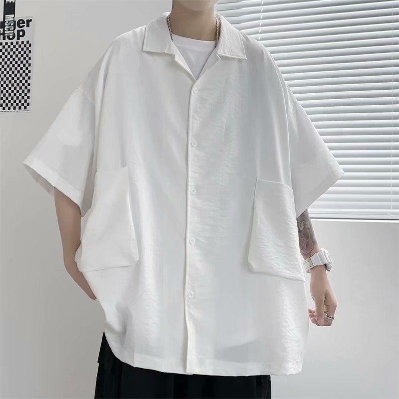Summer Short Sleeve Shirt Men's Fashion Black White Shirt Men Streetwear Korean Loose Pocket Casual Shirts Mens Dress Shirt