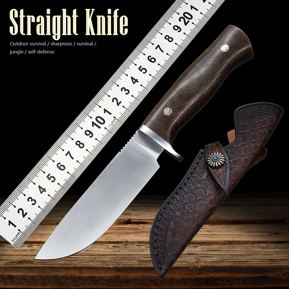 M390 Steel Outdoor Knife Fixed Knife Hunting Knife Field Straight Knife Self-Defense Household Sharp Fruit Knife Tactical Knife недорого