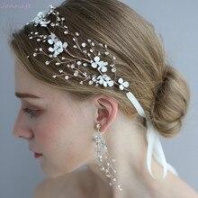 Handgemachte Weiße Blumen Braut Haar Reben Stirnband Strass Hochzeit Zubehör Haar Stück Frauen Party Prom Kopfstück
